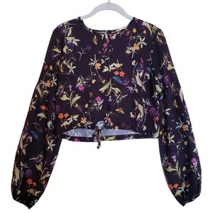 Oh My Love Floral Long Sleeve Crop Top
